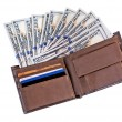 Dollar banknotes in leather wallet — Stock Photo #50224779