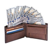 Fan of dollars in a wallet — Stock Photo