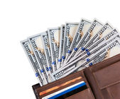 Wallet filled with many United States one hundred dollar Federal Reserve notes — Stock Photo