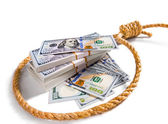 Stacks of money in a noose — Stock Photo