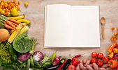 Purchase list. Shopping List. Cookbook. Cookery book. Copy space — Stock Photo
