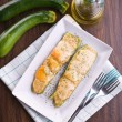 Stock Photo: Zucchini stuffed with cheese.