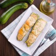 Zucchini stuffed with cheese. — Stock Photo
