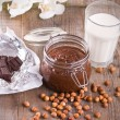 Chocolate hazelnut spread. — Stock Photo