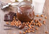 Chocolate hazelnut spread. — Stock Photo