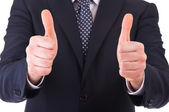 Business man showing thumbs up sign. — Zdjęcie stockowe