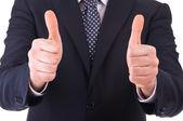 Człowiek biznesu wyświetlono kciuki znak. — Zdjęcie stockowe
