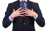 Businessman pointing at himself. — Stock Photo