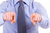 Homme d'affaires, gesticulant avec les deux mains. — Photo