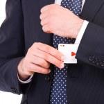 Businessman with ace card hidden under sleeve. — Stock Photo