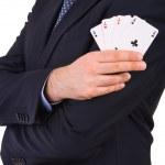 empresario mostrando jugando a las cartas — Foto de Stock