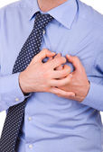 Businessman with heart attack. — Stock Photo