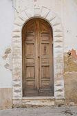 Wooden door. Mattinata. Puglia. Italy. — Stock Photo