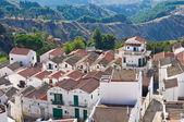 Panoramisch zicht op pisticci. basilicata. italië. — Stockfoto