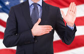 Businessman taking oath. — Stock Photo