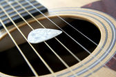 Plectrum on strings — Stock Photo