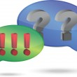 Question and exclamation marks in speech bubbles illustration design — Stock Photo #12646543