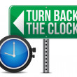 Stock Photo: Roadsign with a turn back the clock concept