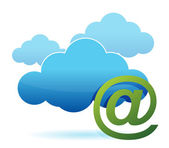 Cloud computing and mail sign illustration design over white — Stock Photo