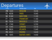 Airport time Departure table illustration design over white — Stock Photo