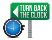 Roadsign with a turn back the clock concept — Stockfoto