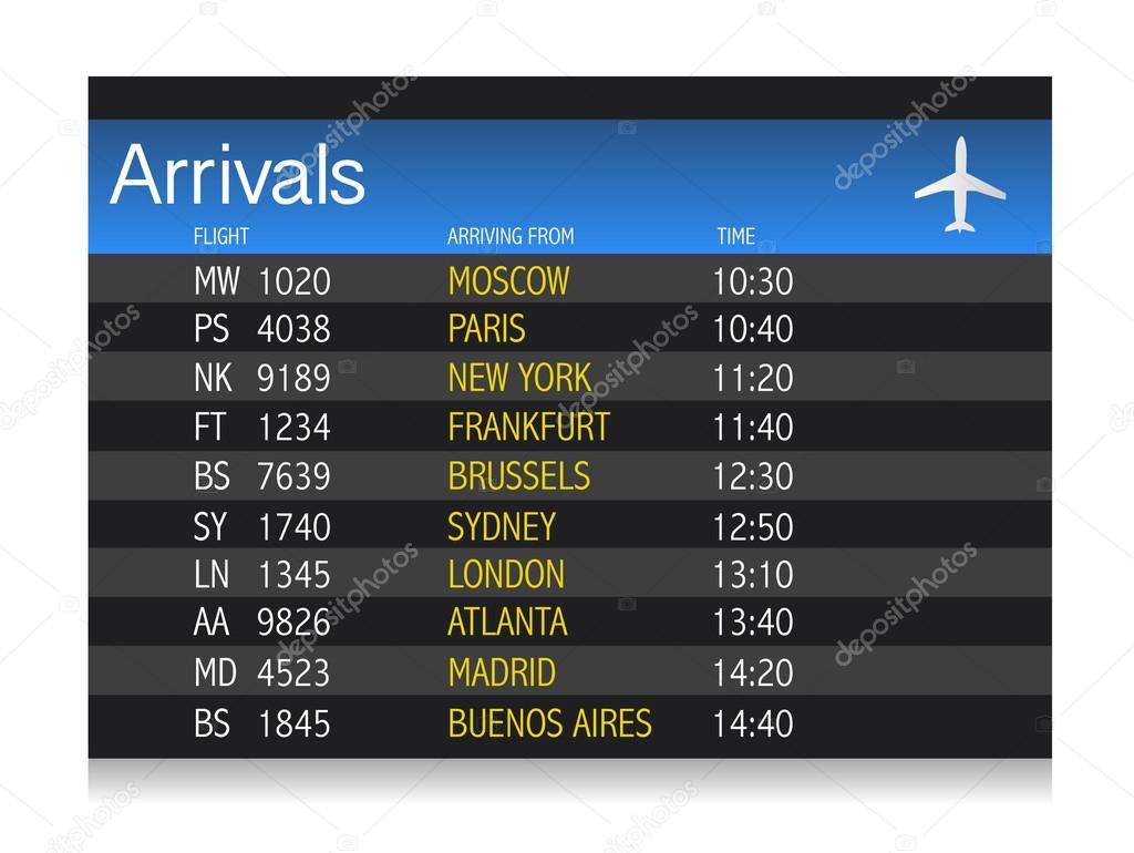 Airport arrival timetable illustration design over white background  — Stock Photo #12646064