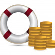 Coins and lifesaver illustration design over white — Stock Photo
