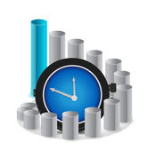 A graph with clock a business concept illustration — Stock Photo