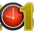 Stock Photo: New year 2013 concept with red clock illustration