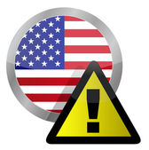 Us flag seal with a warning sign illustration on top — Stock Photo