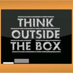 Think outside the box title blackboard illustration — Stock Photo #12807123