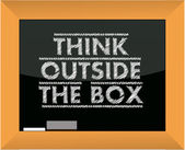 Think outside the box title blackboard illustration — Stock Photo