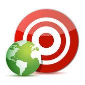 Red target green globe illustration design over white — Stock Photo