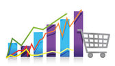 Sales growth business chart shopping cart illustration — Stock Photo