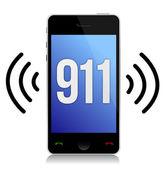 Emergency number 911 call illustration design over white — Stock Photo
