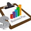 Business plan chart and currency illustration design — Photo