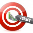 Problem - targeting losses target chart concept — Stock Photo