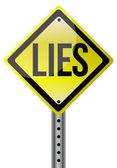Yellow lies street sign illustration design — Stock Photo