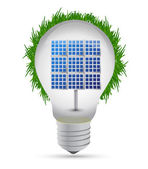 Eco lightbulb and solar panel illustration design — Stock Photo