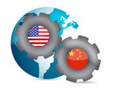 Us and china working together concept — Stock Photo