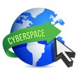 Blue globe and cursor cyberspace concept - Stock Photo