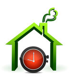 House with watch in front illustration — Stock Photo