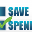 Save vs spend checkmark selection — Stock Photo #13149501
