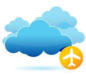 Molnet och flygplan illustration design — Stockfoto