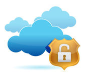 Computer cloud unprotected by gold shield — Stock Photo