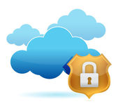 Computer cloud protected by gold shield — Stockfoto