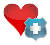 Heart medical protection by a shield — Stock Photo
