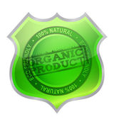 Organic product shield guaranty — Stock Photo