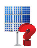 Question mark over a solar panel — Stock Photo