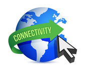 Connectivity globe cursor illustration — 图库照片